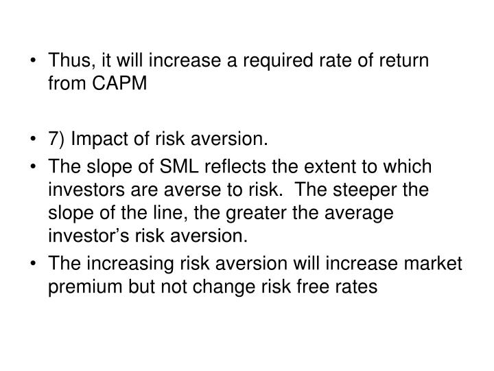 Thus, it will increase a required rate of return from CAPM