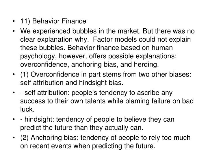 11) Behavior Finance