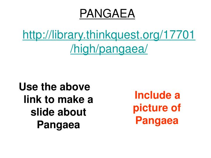 Use the above link to make a slide about Pangaea