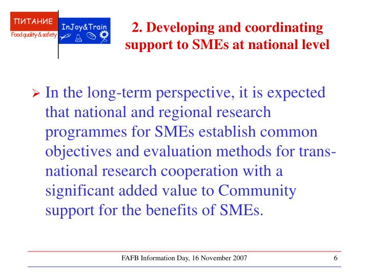 2. Developing and coordinating support to SMEs at national level