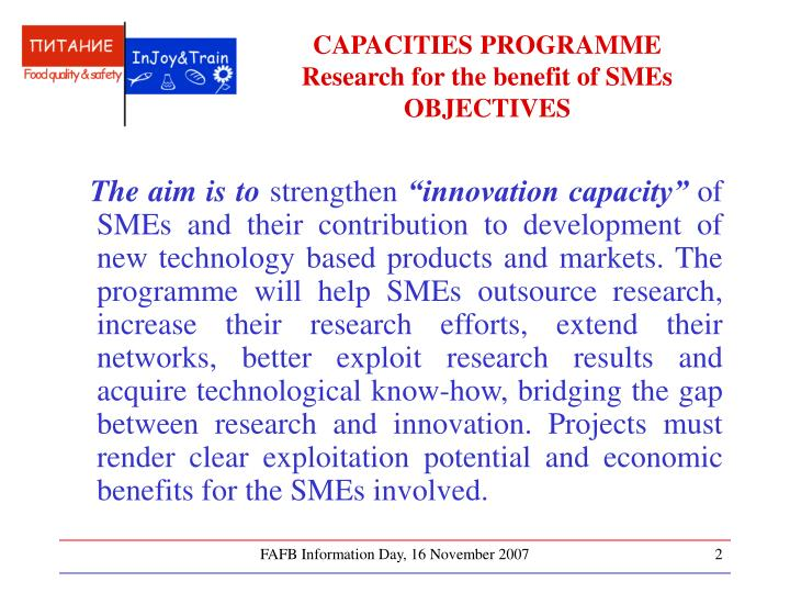Capacities programme research for the benefit of smes objectives