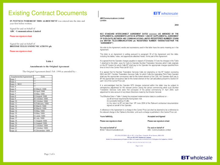 Existing Contract Documents