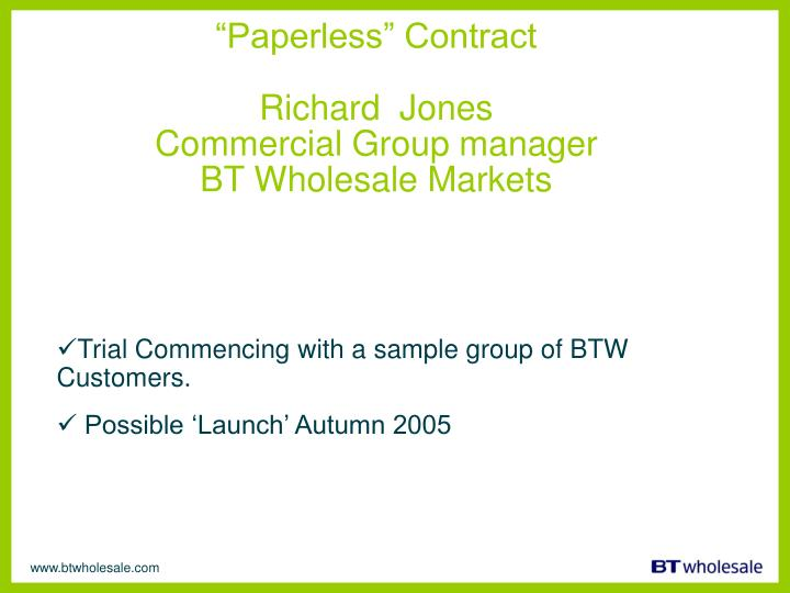 """Paperless"" Contract"