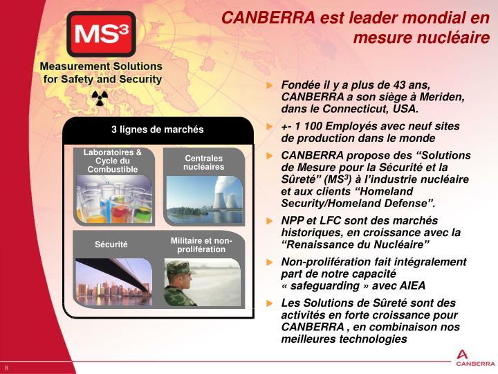 CANBERRA est leader mondial