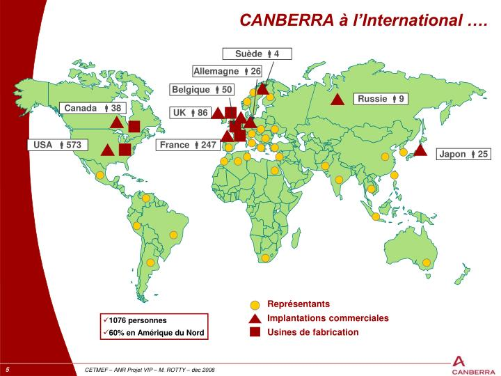 CANBERRA à l'International ….