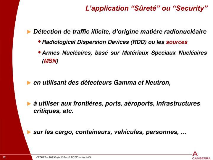 """L'application """"Sûreté"""" ou """"Security"""""""