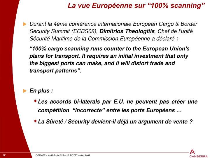 "La vue Européenne sur ""100% scanning"""