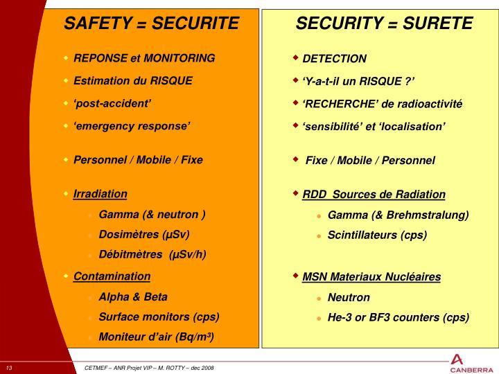 SAFETY = SECURITE