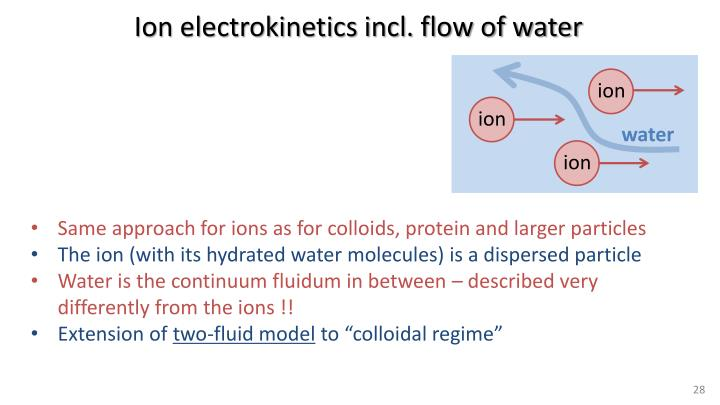 Ion electrokinetics incl. flow of water