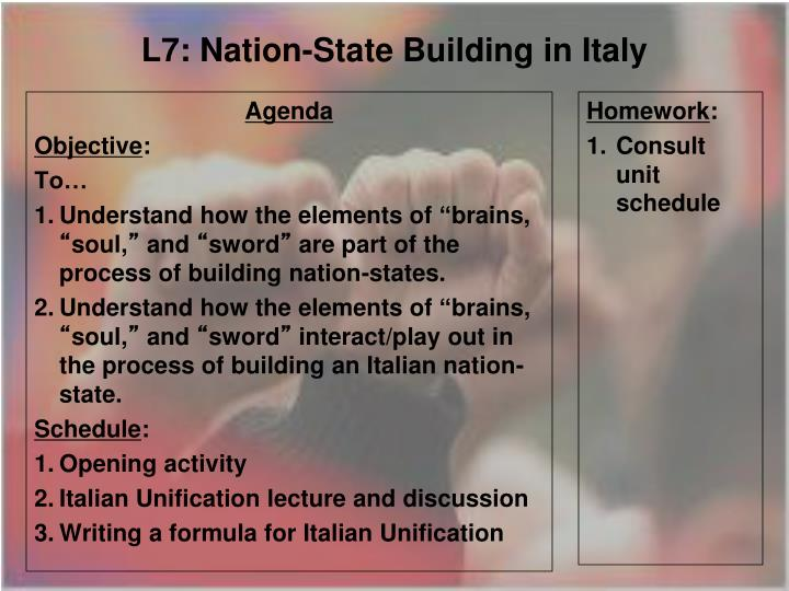 l7 nation state building in italy