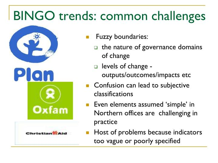 BINGO trends: common challenges