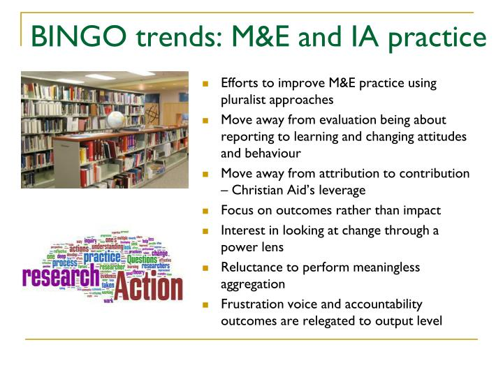 BINGO trends: M&E and IA practice