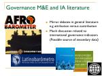 governance m e and ia literature