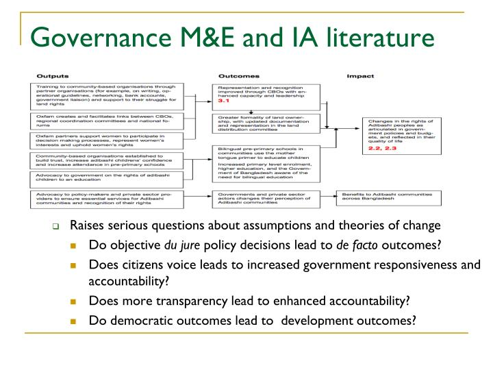 Governance M&E and IA literature