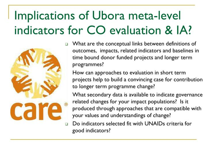 Implications of Ubora meta-level indicators for CO evaluation & IA?