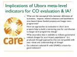 implications of ubora meta level indicators for co evaluation ia