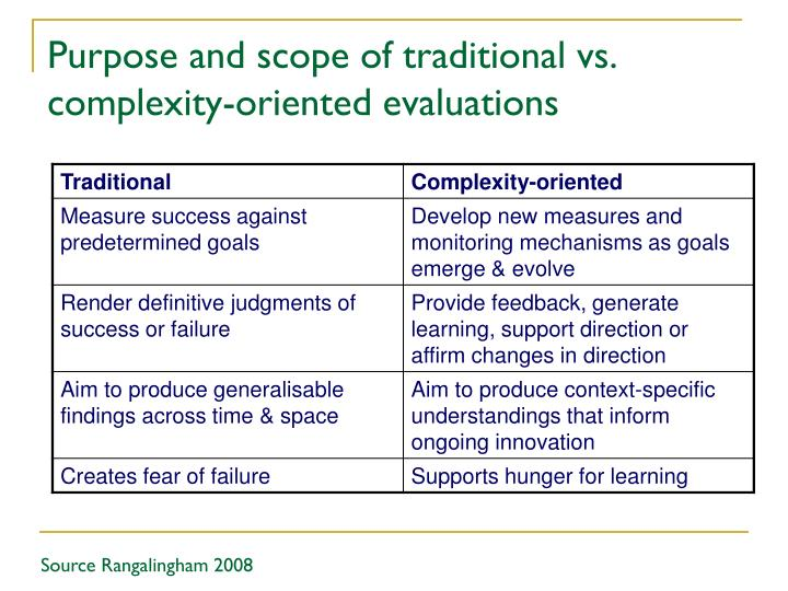 Purpose and scope of traditional vs. complexity-oriented evaluations