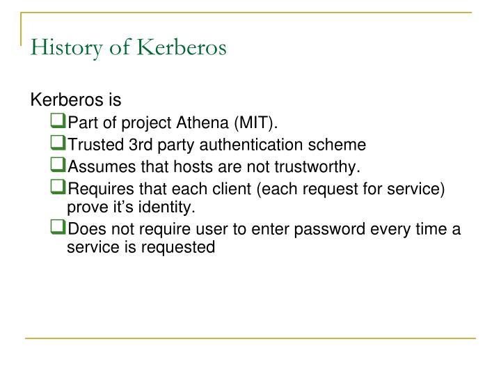 History of Kerberos
