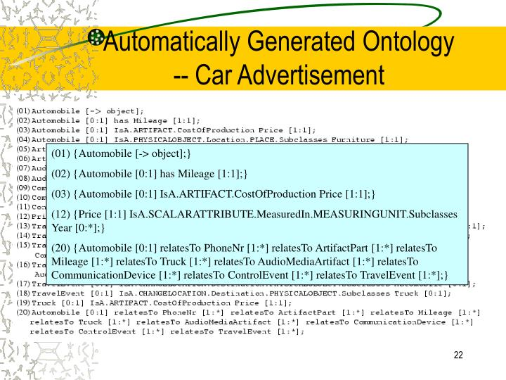 Automatically Generated Ontology