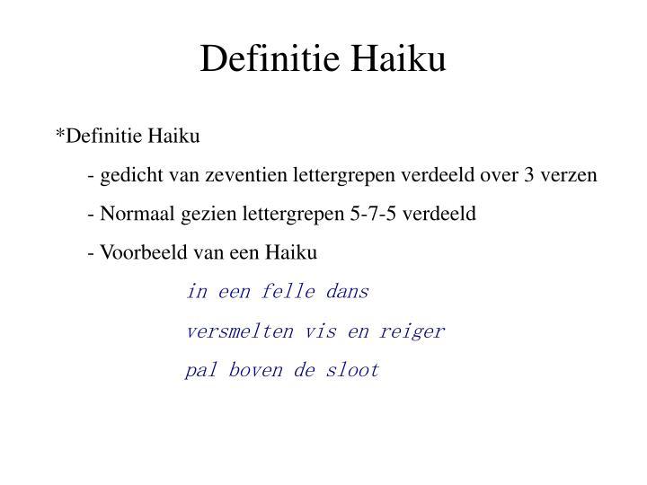 Definitie Haiku