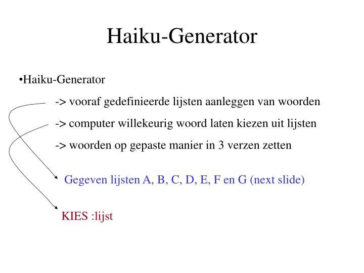 Haiku-Generator