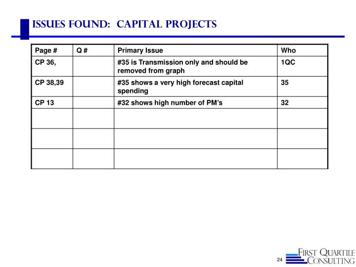 Issues found:  capital projects