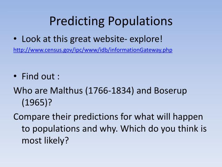Predicting Populations