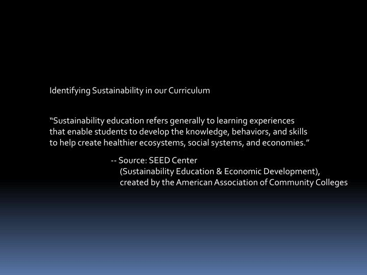Identifying Sustainability in our Curriculum