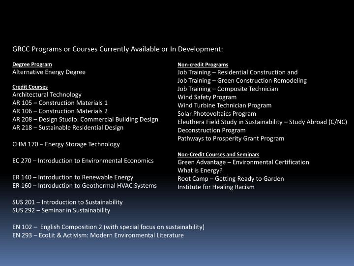 GRCC Programs or Courses Currently Available or In Development: