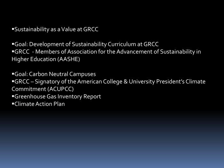 Sustainability as a Value at GRCC