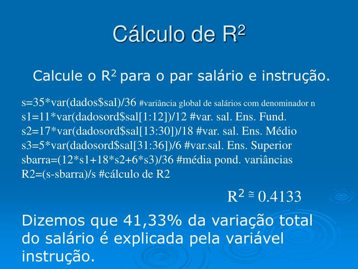 Cálculo de R