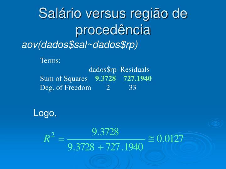 Salário versus região de procedência