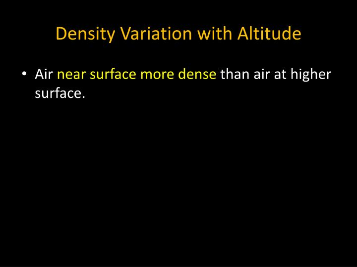 Density Variation with Altitude
