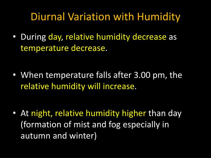 Diurnal Variation with Humidity