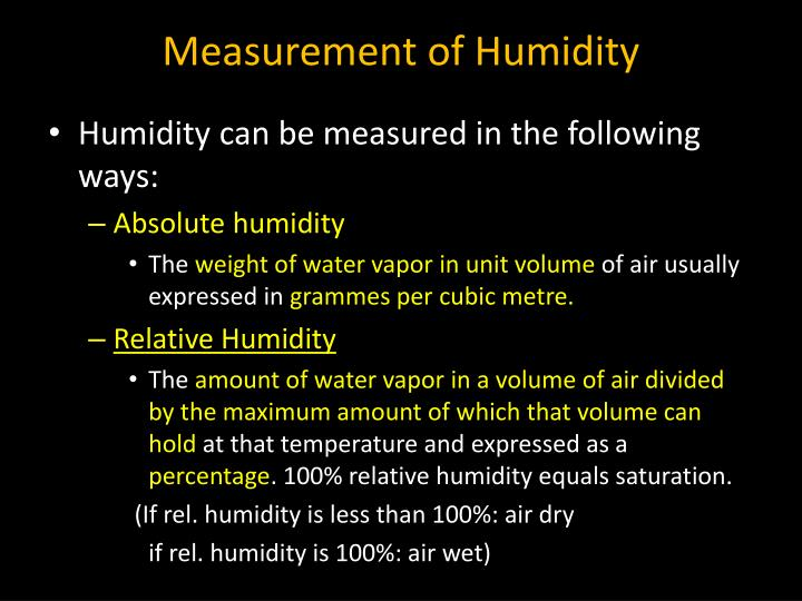 Measurement of Humidity