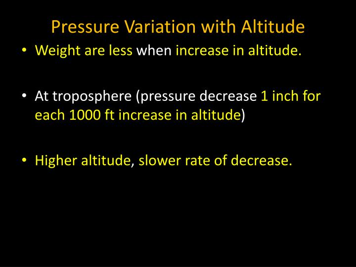 Pressure Variation with Altitude