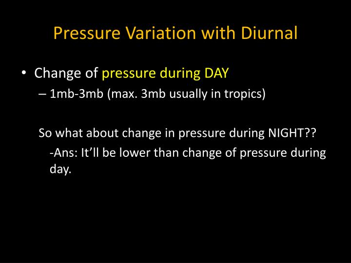 Pressure Variation with Diurnal