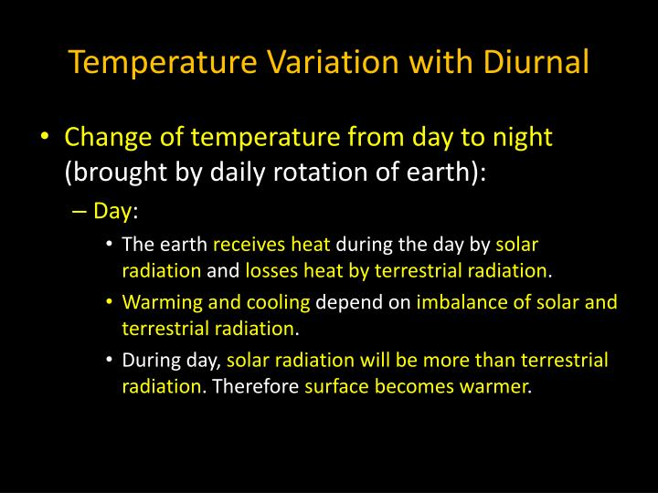 Temperature Variation with Diurnal