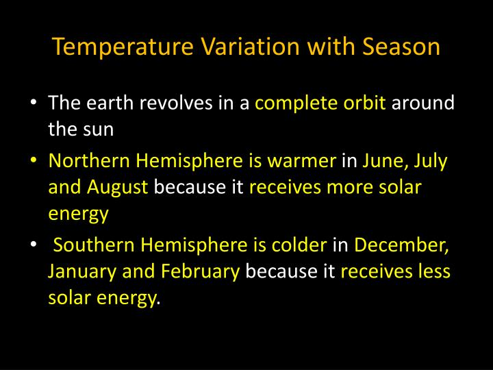 Temperature Variation with Season
