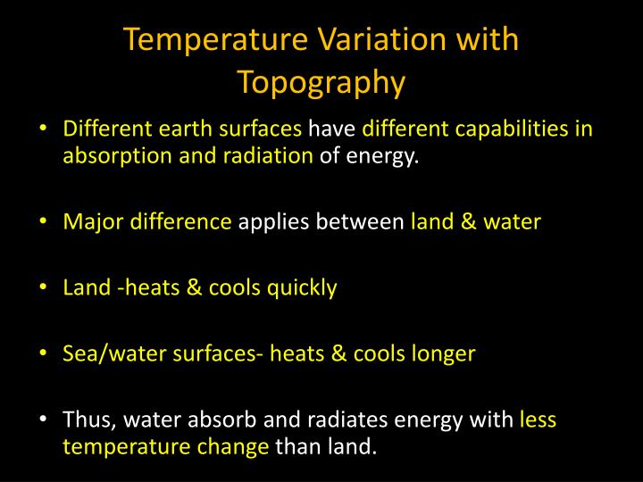 Temperature Variation with Topography