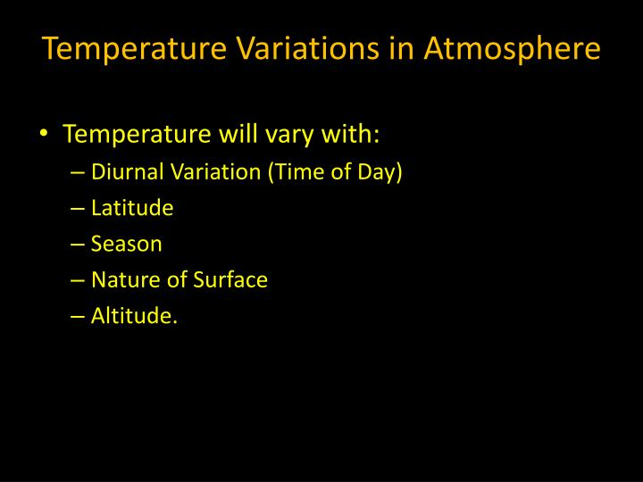 Temperature Variations in Atmosphere