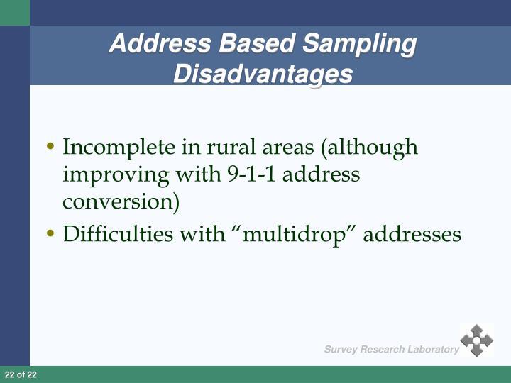 Address Based Sampling Disadvantages