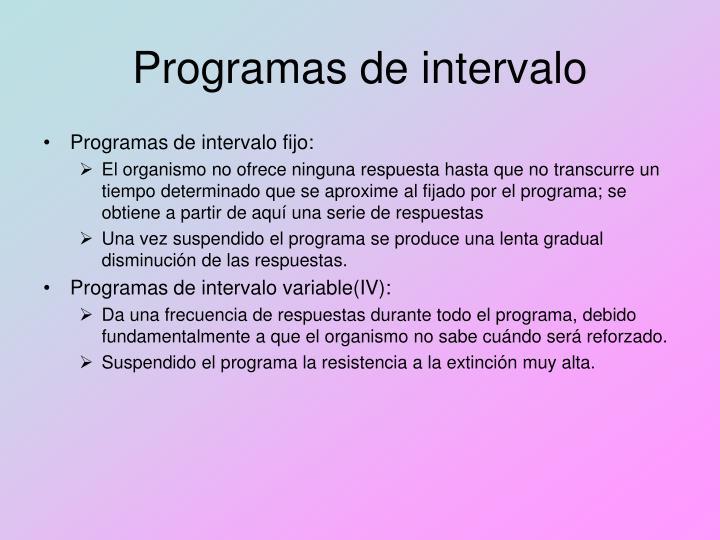 Programas de intervalo