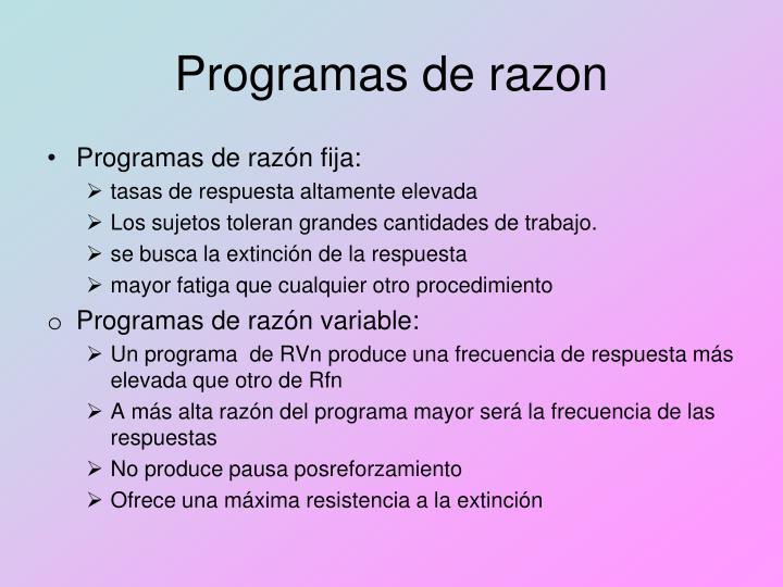 Programas de razon