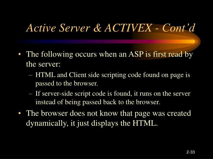 Active Server & ACTIVEX - Cont'd