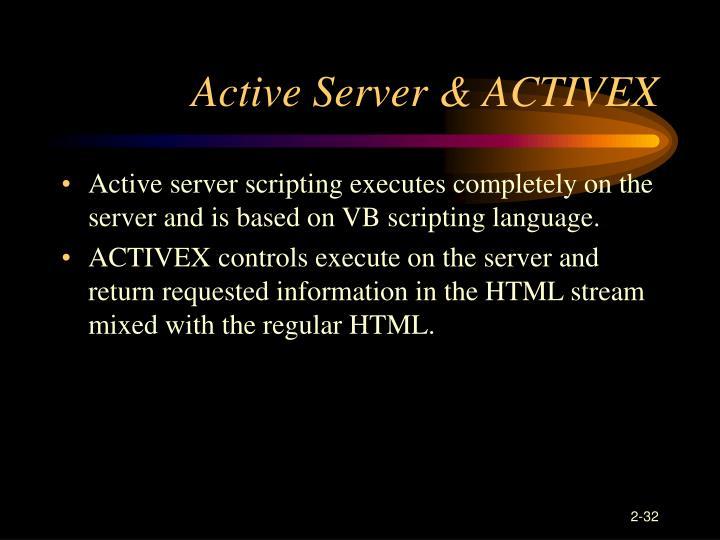 Active Server & ACTIVEX