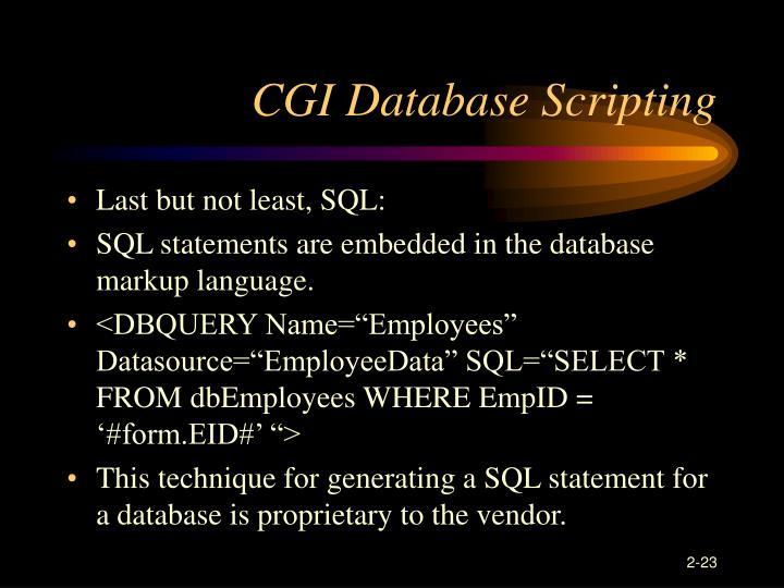 CGI Database Scripting