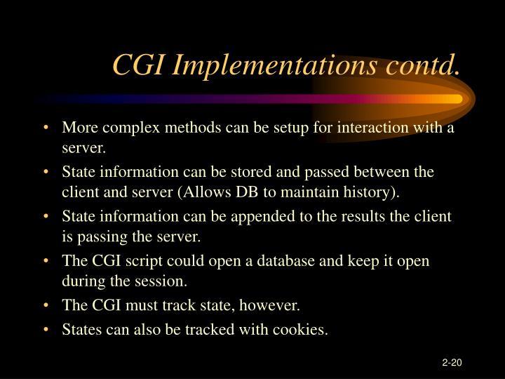 CGI Implementations contd.