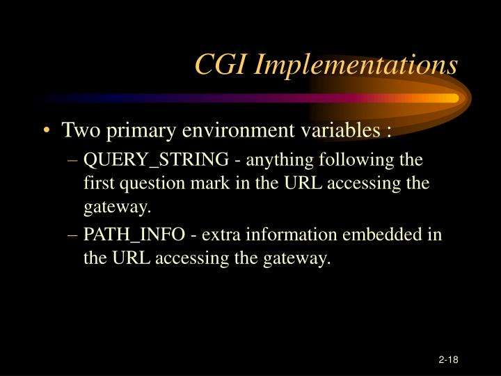 CGI Implementations