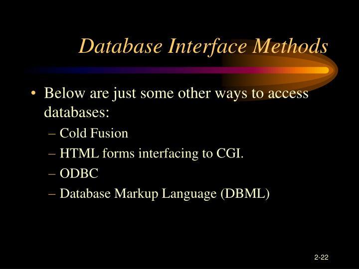 Database Interface Methods